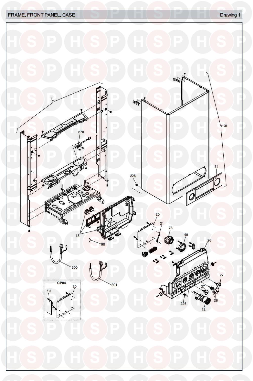 Vokera SABRE 35 HE Appliance Diagram (CASING ELECTRICS