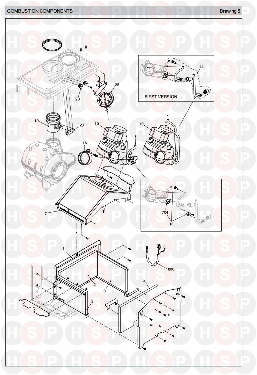 Combustion Components diagram for Vokera Sabre 29 HE Rev 6 (11/2010)