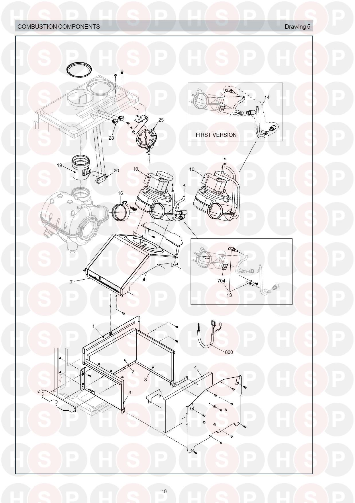 Combustion Components diagram for Vokera Compact 25 HE Rev 6 (11/2010) NG