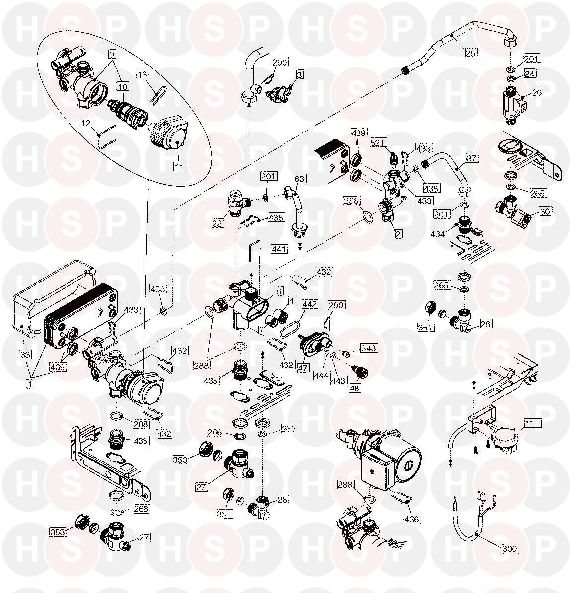 vokera compact 25 he appliance diagram  heatexchanger
