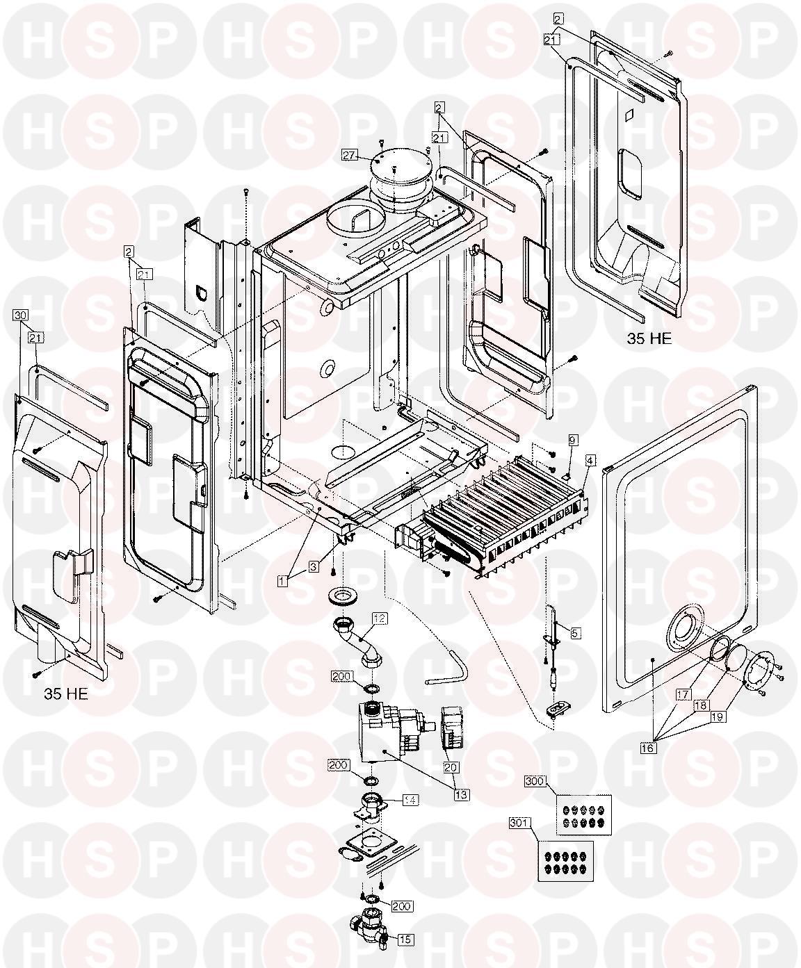 vokera compact 25 he appliance diagram  burner