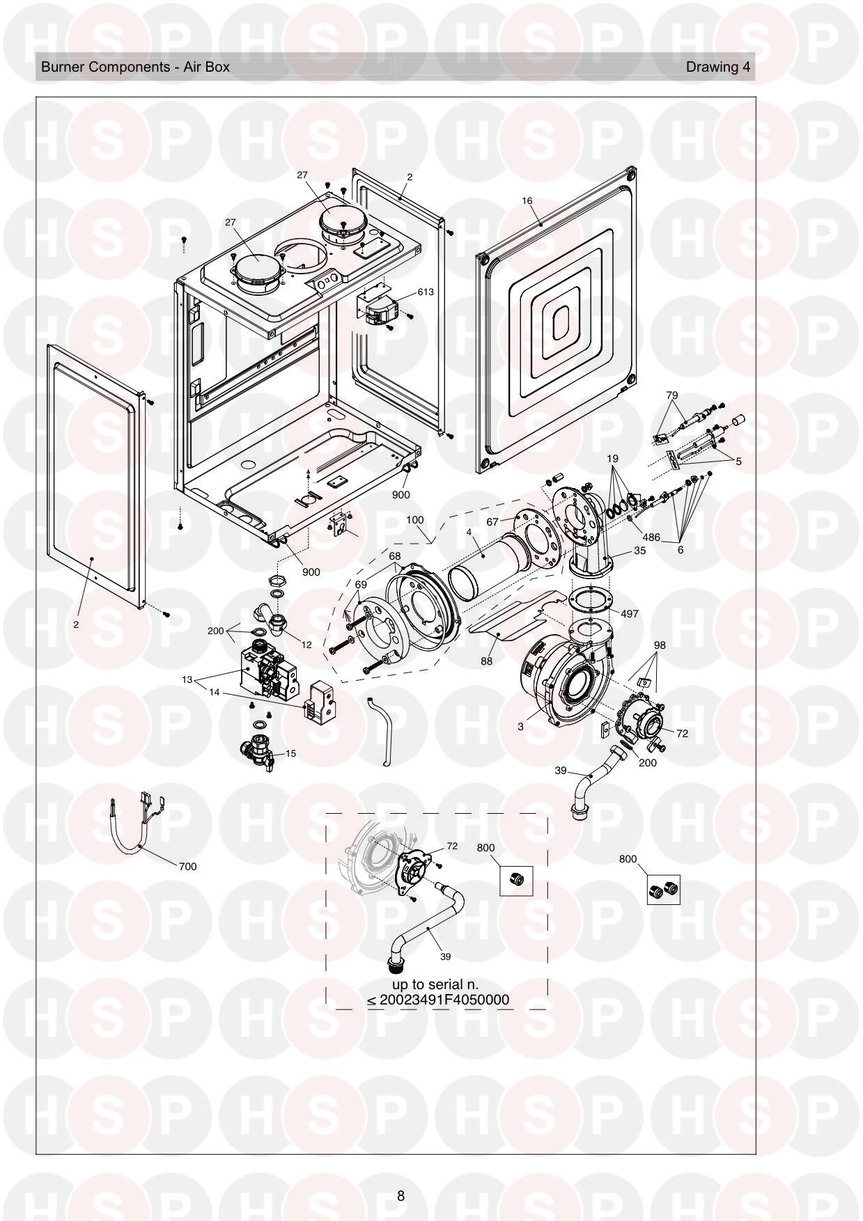 Burner Air Box diagram for Vokera Linea One ERP Rev 13 (02/2017)