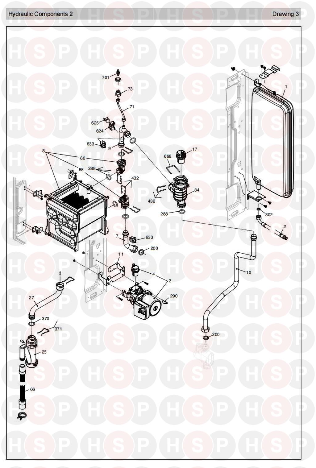 vokera sabre 25he plus  new version   hydraulics 2  diagram
