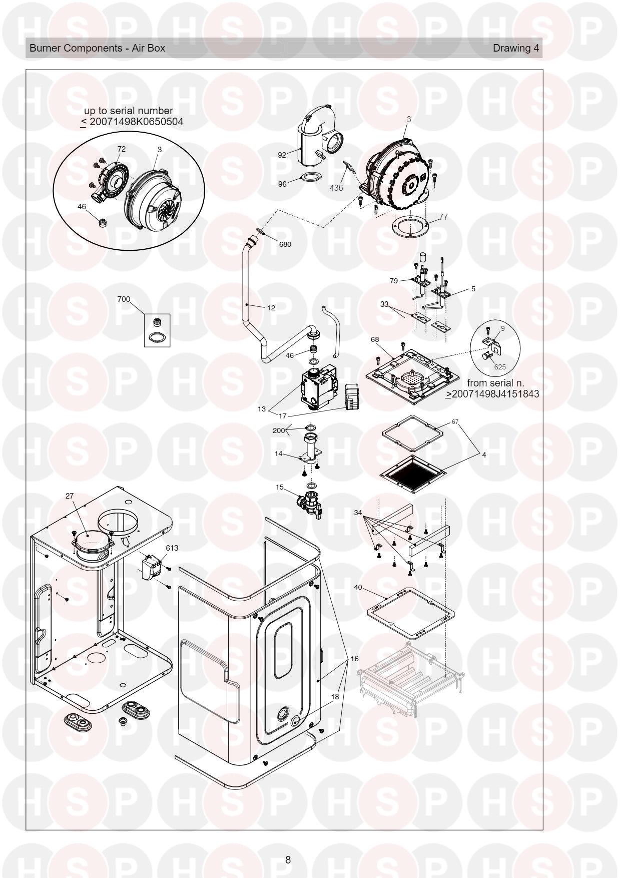 Burner Air Box diagram for Vokera Compact 25A Rev 7 (06/2016)