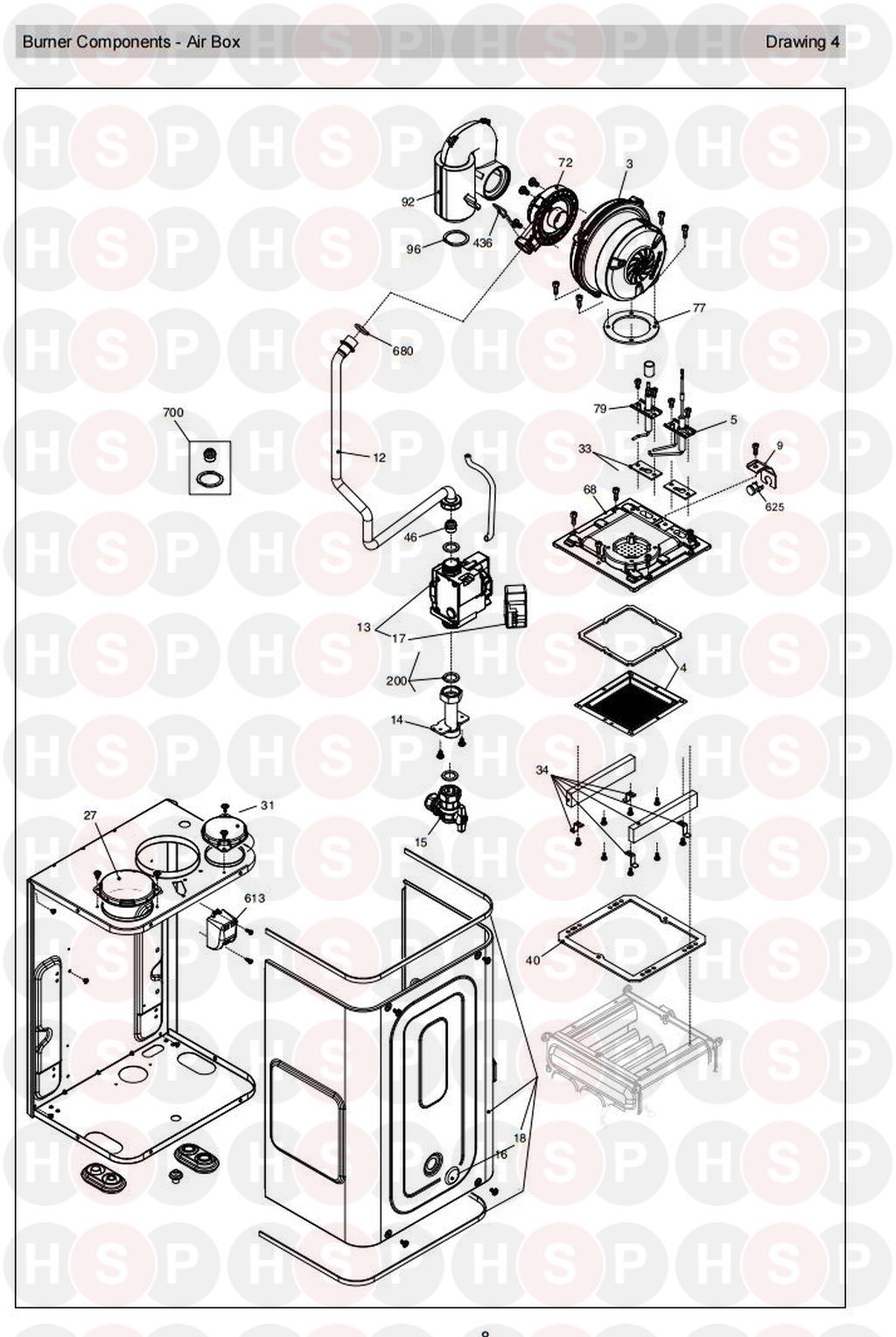 Vokera EXCEL 25ERP PRODUCT CODE 20097281 Appliance Diagram