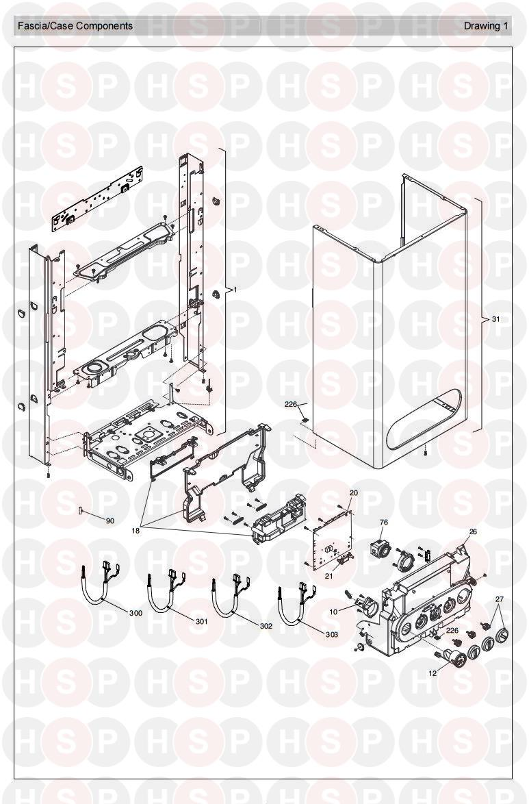 vokera procombi a36 revision 7  casing electrics  diagram