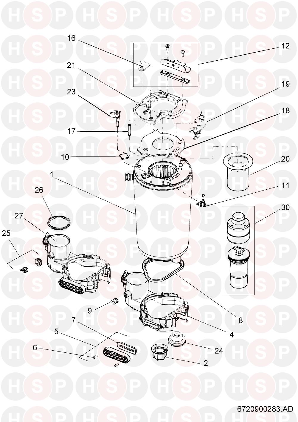 Worcester Greenstar 24 RI HE (HEAT EXCHANGER) Diagram