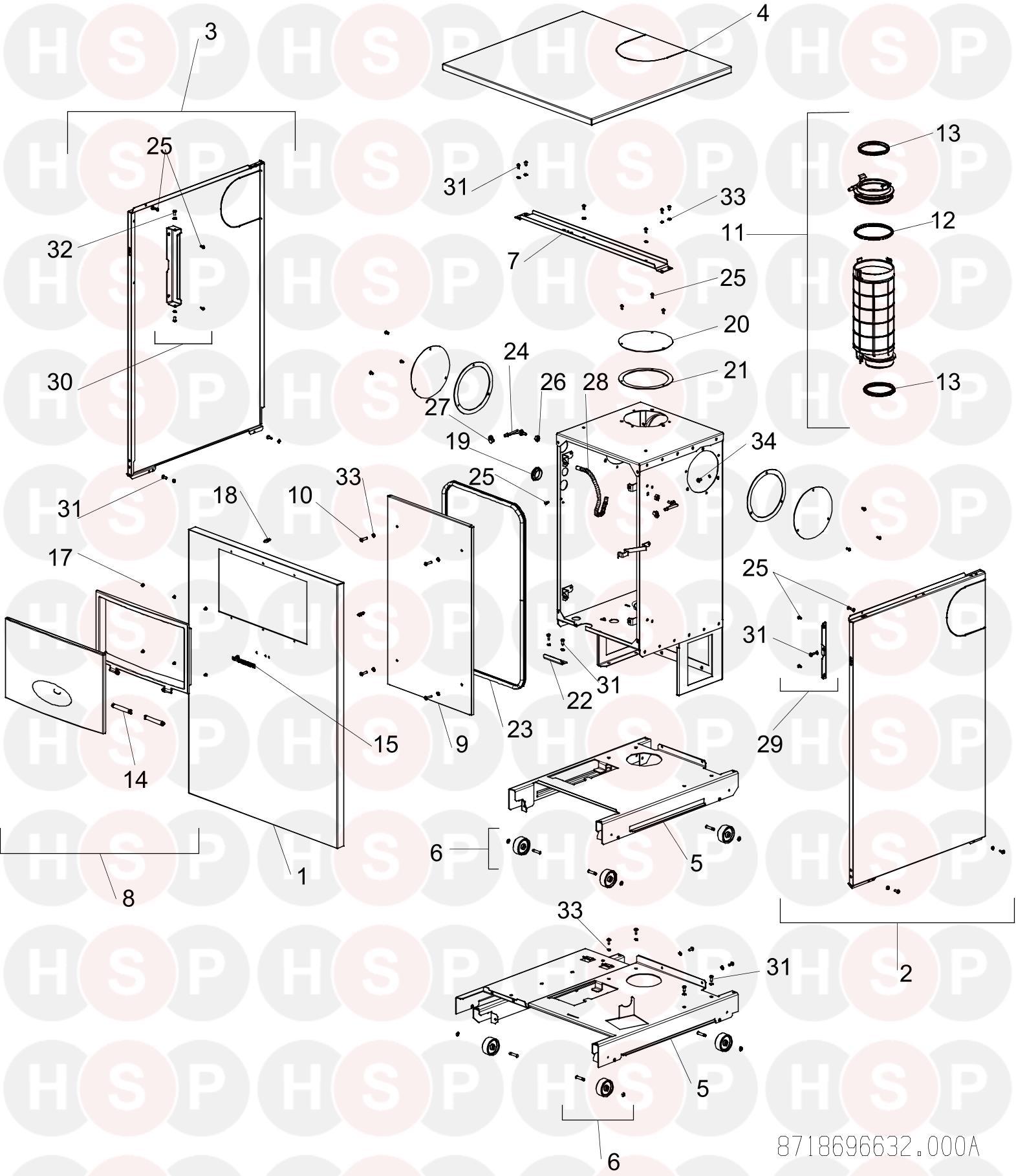 Worcester GREENSTAR FS 30CDI REGULAR ErP (CASING) Diagram