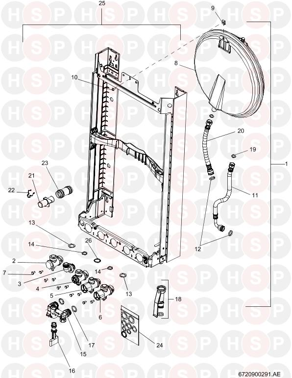 Worcester Greenstar 25 Si (WALL JIG AND FRAME) Diagram