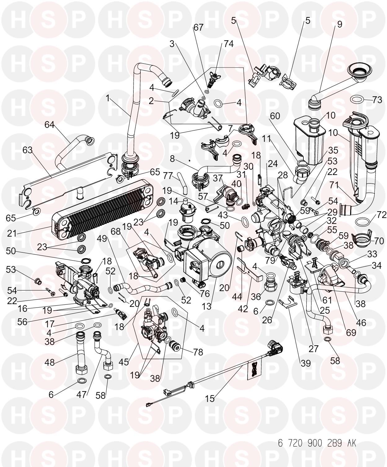 Worcester GREENSTAR 28 I JUNIOR HE (Hydraulics) Diagram