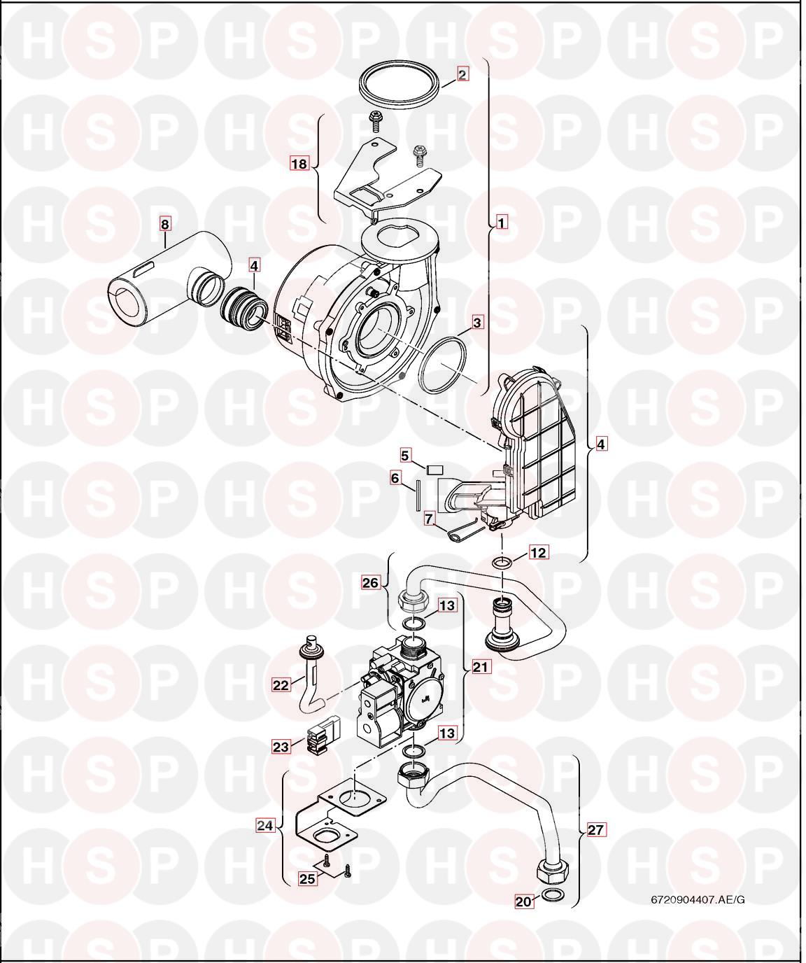 Worcester GREENSTAR 29CDI CLASSIC (FAN /GAS VALVE) Diagram