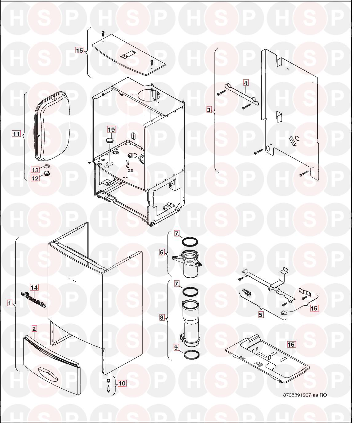 Worcester GREENSTAR 38CDI CLASSIC (SHEET METAL) Diagram