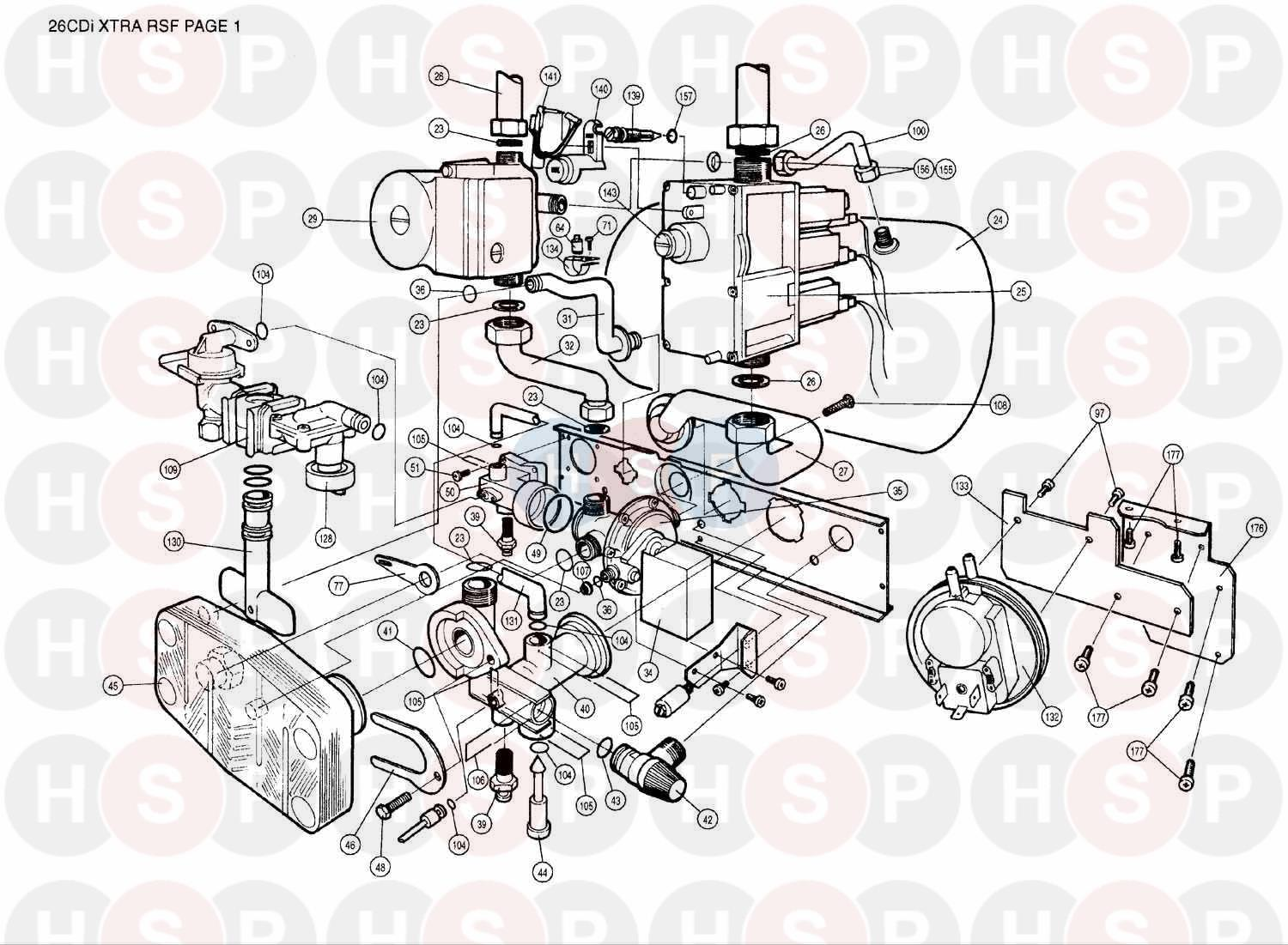 Worcester 26 CDI XTRA (ASSEMBLY 1) Diagram   Heating Spare Parts