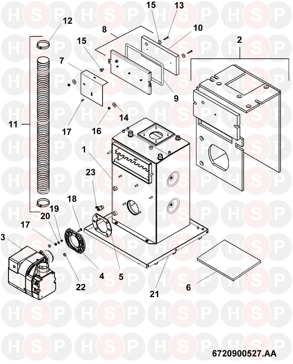 worcester camray 5 combi 70 7716110014  heat exchanger  diagram