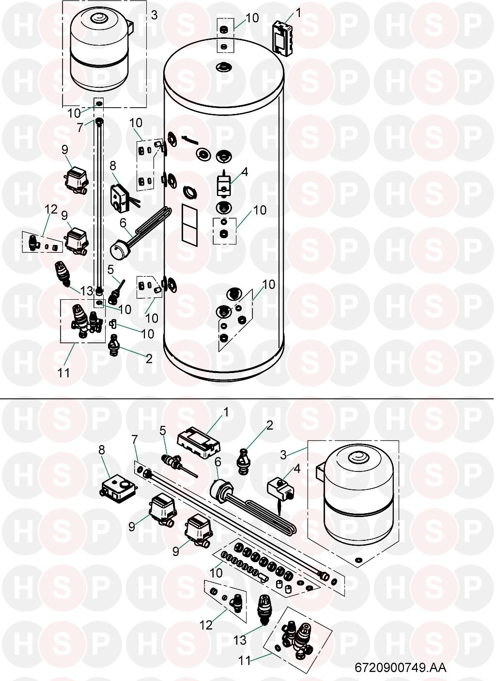 worcester cylinder 7716890003  exploded view  diagram
