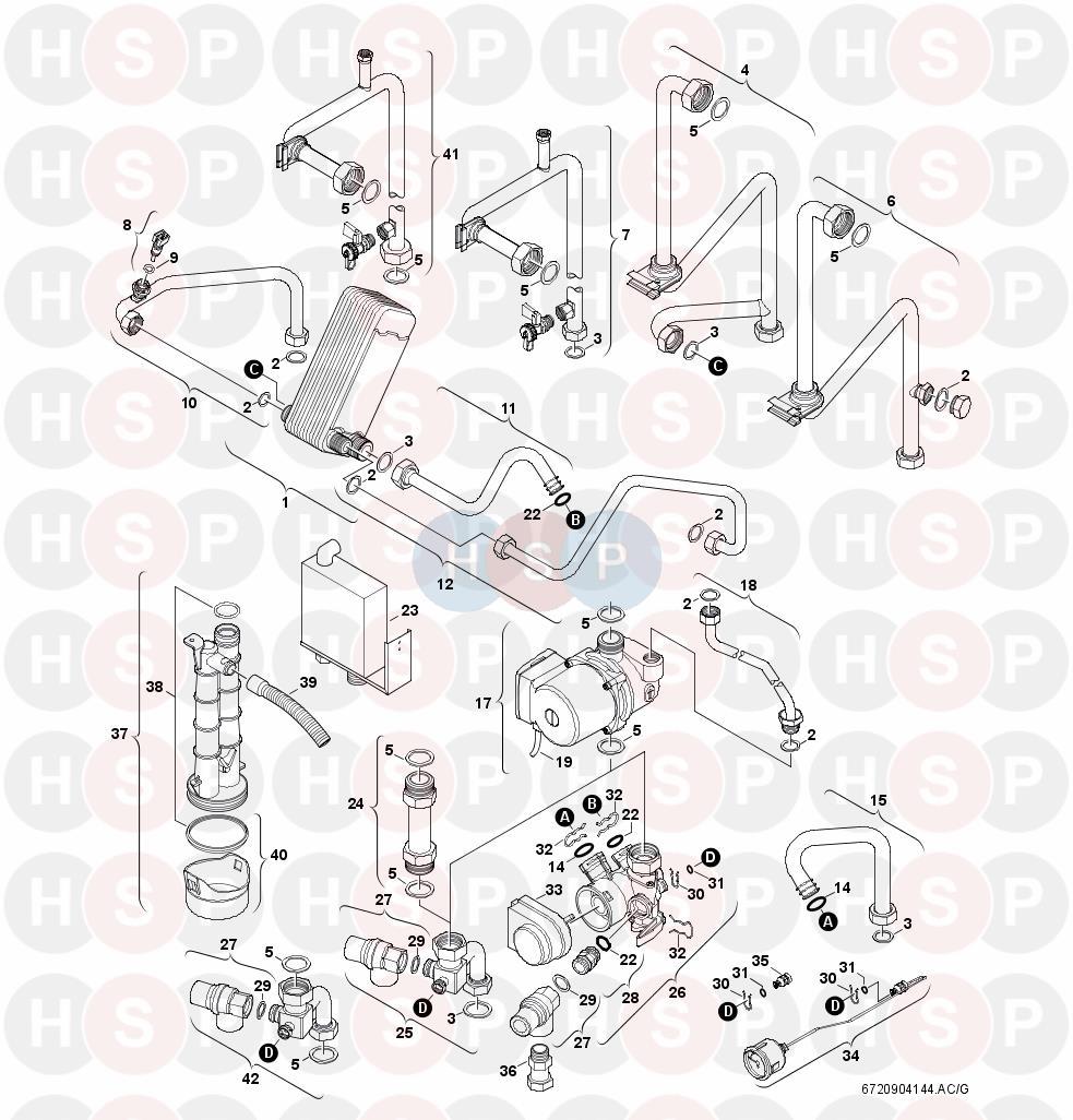 worcester greenstar r30 he combi  pump  valve  pipework