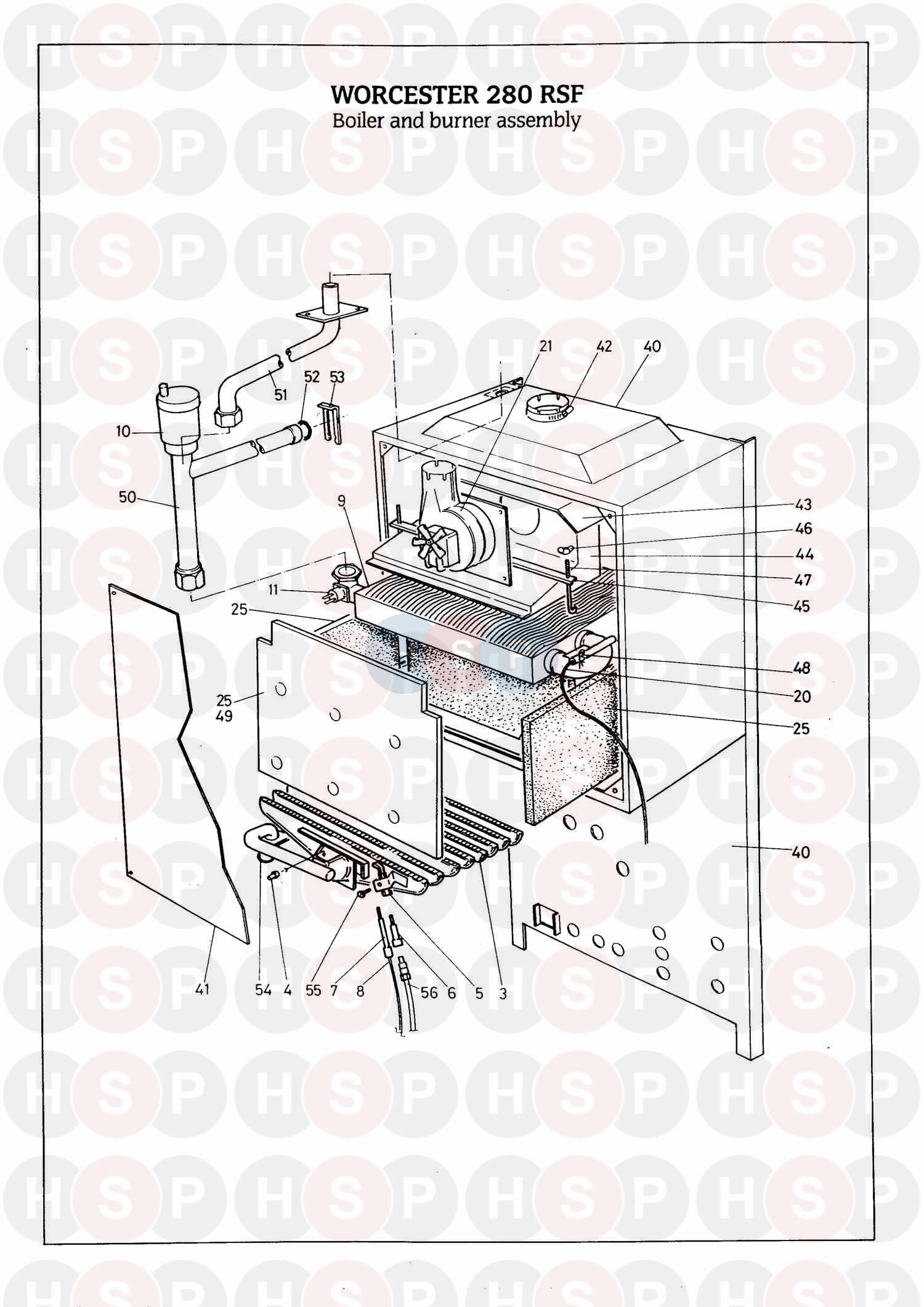 worcester 280 rsf  boiler  u0026 burner  diagram