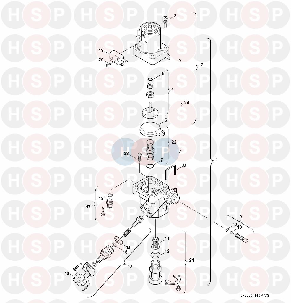 Worcester GREENSTAR R25 HE COMBI (WATER VALVE) Diagram